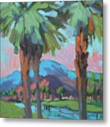 Palms And Coral Mountain Metal Print