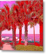 Palms In Red Metal Print