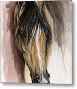 Palomino Arabian Horse Watercolor Portrait Metal Print