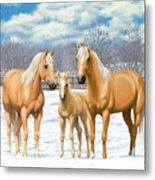 Palomino Horses In Winter Pasture Metal Print