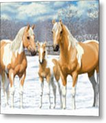 Palomino Paint Horses In Winter Pasture Metal Print