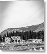 Paragliding Over The Ruins Of Pamukkale Metal Print