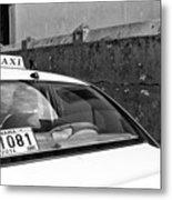 Panama City Taxi Mono Metal Print