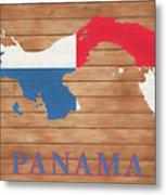 Panama Rustic Map On Wood Metal Print