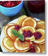 Pancakes With Cranberry Jam Metal Print