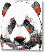 Panda Bear Art - Black White Red - By Sharon Cummings Metal Print