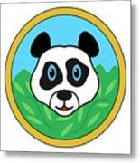 Panda Bear Head Metal Print