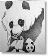 Panda Collage Metal Print
