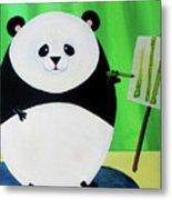 Panda Drawing Bamboo Metal Print by Lael Borduin
