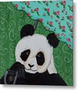 Panda In The Rain Metal Print