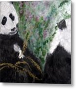 Pandas With Golden Bamboo Metal Print