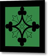 Panel - Black And Green Clover Style Greek Cross Metal Print