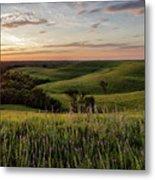 Pano - Flint Hills Sunset   Metal Print