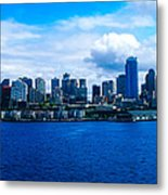 Pano Of Downtown Seatle Metal Print
