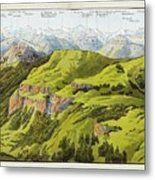 Panorama Drawn From The Rigi Mountain Metal Print