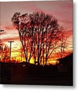 Panorama    Mid Winter Sunset In The City       Indiana Metal Print