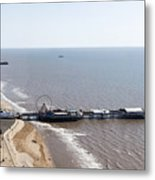 Panorama Of Blackpool Beach Metal Print