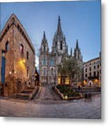 Panorama Of Cathedral Of The Holy Cross And Saint Eulalia In The Metal Print
