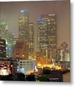 Panorama Of Downtown Los Angeles In The Fog Metal Print