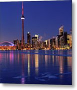 Panorama Of Frozen Ice Covered Lake Ontario Reflecting The Light Metal Print