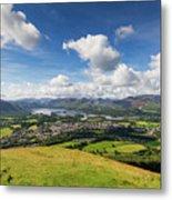 Panorama Of Keswick And Lake Derwent Water Panorama From Latrigg Metal Print