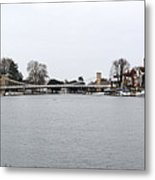 Panorama Of Marlow Bridge In Winter Metal Print