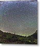 Panorama Of Milky Way Over Red Rock Metal Print