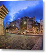 Panorama Of Placa De Catalunya In The Morning, Barcelona, Spain Metal Print