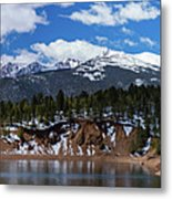 Panorama Of South Catamount Reservoir With Pike's Peak Covered I Metal Print