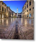 Panorama Of Stradun Street And Luza Square In Dubrovnik, Dalmati Metal Print