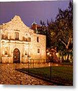 Panorama Of The Alamo In San Antonio At Dawn - San Antonio Texas Metal Print