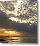Panorama Of The Sunset In Caesarea Metal Print