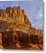 Panorama The Castle On A Cloudy Morning Capitol Reef National Park Metal Print