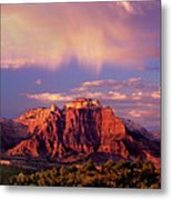 Panorama West Temple At Sunset Zion Natonal Park Metal Print
