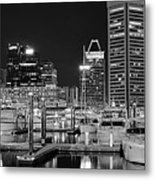 Panoramic Baltimore In Black And White Metal Print