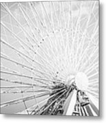 Panoramic Chicago Ferris Wheel In Black And White Metal Print