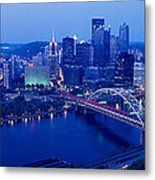 Panoramic Evening View Of Pittsburgh Metal Print