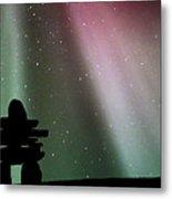 Panoramic Inukshuk Northern Lights Metal Print