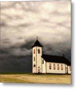 Panoramic Lightning Storm And Prairie Church Metal Print