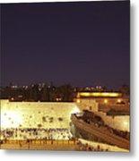Panoramic Night View Of The Wailing Wall  Metal Print