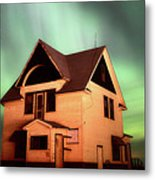 Panoramic Prairie Northern Lights And House Metal Print