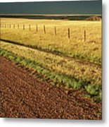 Panoramic Prairie Storm Canada At Sunset Metal Print