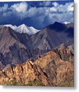 Panoramic Rocky Landscape Of Leh City Ladakh Jammu And Kashmir India Metal Print