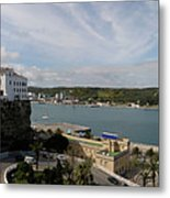 panoramic town 1  - Panorama of Mahon Menorca with old town and harbour Metal Print