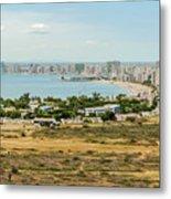 Panoramic View At The Salinas Beaches In Ecuador Metal Print