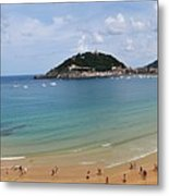 Panoramic View Of Beautiful Beach, San Sebastian, Spain  Metal Print