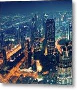 Panoramic View Of Dubai City Metal Print