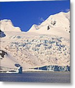 Panoramic View Of Glaciers And Iceberg Metal Print