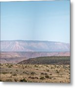 Panoramic View Of Open Desert Field In Nevada With Grand Canyon  Metal Print