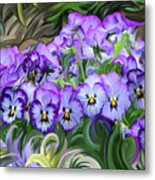 Pansey Flowers And Swirls  Metal Print